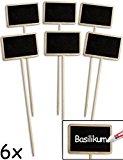 HOMETOOLS.EU® - 6x Klassische Holz Pflanz-Schilder | Gewächshaus Beet Balkon Kräuter-Garten Blumen-Kübel | Landhaus | beschreibbar, 25cm, 6er Set