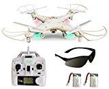 Syma X5C Explorer 2.4 GHz 4-Kanal 3D Quadrocopter Drohne mit Zusatzakku, 360° Flip Funktion, 3.6 MP HD Kamera mit Ton, Motor-STOPP Funktion, 6AXIS Stabilization System, 4GB Micro-SD Speicherkarte und AGETECH SafeFly Sonnenbrille, Weiß - Sonder-Edition