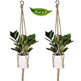 KepooMan Baumwollpflanzen Aufhänger Blumenampel aus Makramee,4-fach PflanzenhalterfürdenInnen und Außenbereich, für Decken und Balkone, für rundeundquadratischeTöpfe, Verpackungseinheit: 2 Stück(41Zoll = 104 cm)