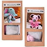 2 Stück DIY Mini Häkelset Bastelset Häkeltier Maus Elefant zum Selber Häkeln und Verschenken 10 cm rosa