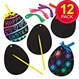 Kratzbild-Anhänger - Osterei - scratch art für Kinder zum Basteln zu Ostern (12 Stück)