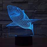 Haifisch 3D bunte Lichter LED Lampe Acryl Vision Stereoskopische 3D Touch Lampe Nacht Licht bunte Steigung Lampe