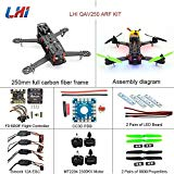 LHI QAV250 Pure Carbon Fiber Mini Quadcopter Race Copter Frame Kit ARF + CC3D Flight Controller + MT2204 2300KV Motor + Simonk 12A ESC + 5030 Propellerotor + Simonk 12A ESC + 5030 propeller