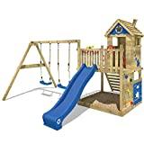 WICKEY Spielturm Smart Lodge 120 Kletterturm Baumhaus Garten mit Spielhaus, Doppelschaukel, großem Sandkasten, Kletterwand, blaue Rutsche