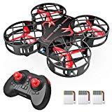 Mini Drohne für 21 Minuten Flugzeit, RC Drone, Quadrocopter mit Höhehalten, Kopflos Modus, 3D Flips und 3 Geschwindigkeitsmodi für Kinder